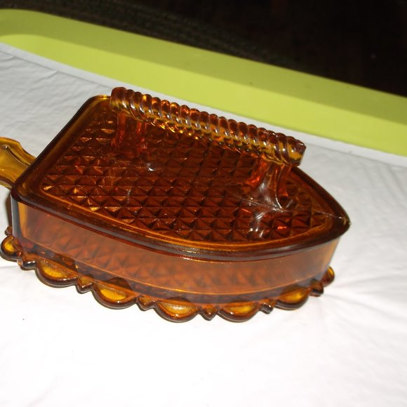 vintage amber pressed glass candy dish.